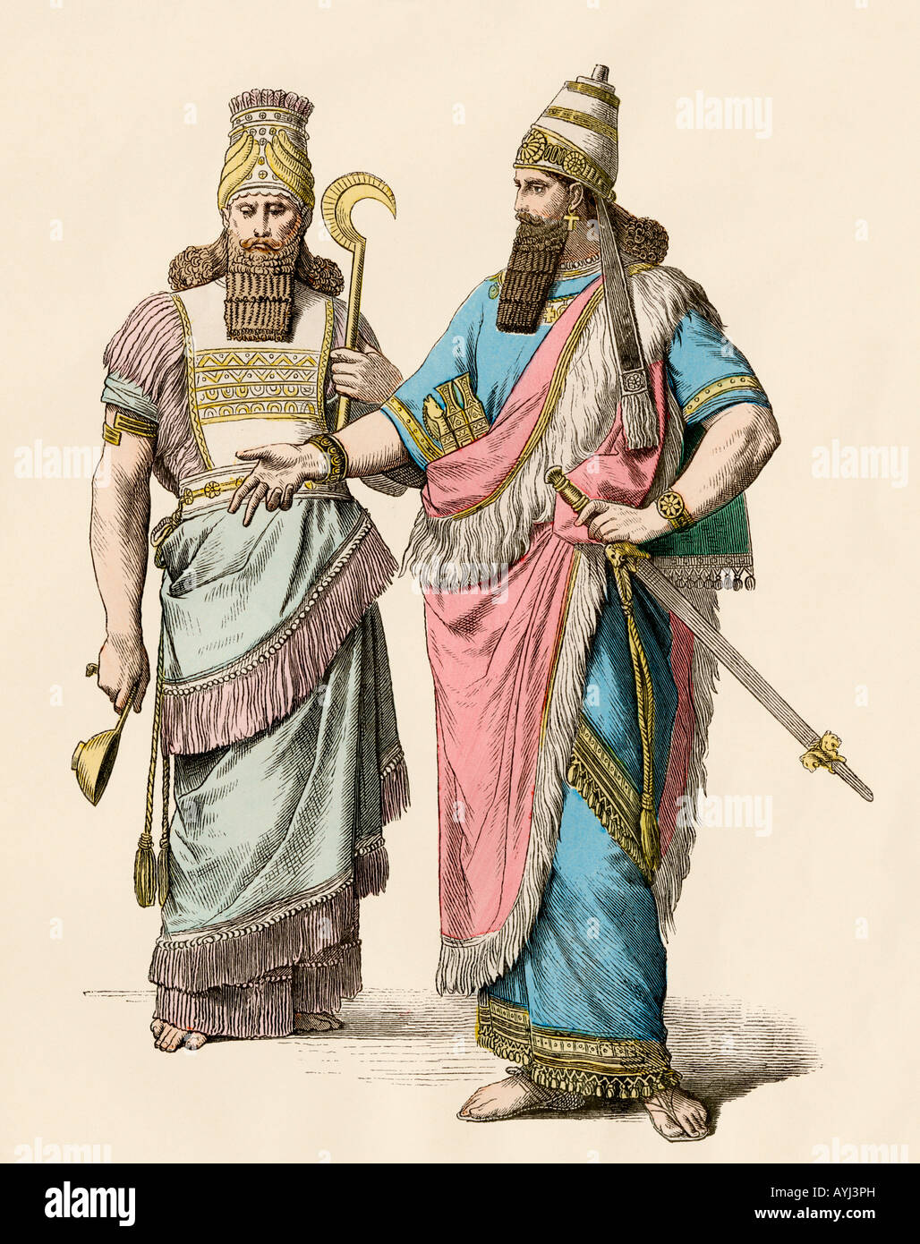 High priest and king of ancient Babylon. Hand-colored print Stock Photo