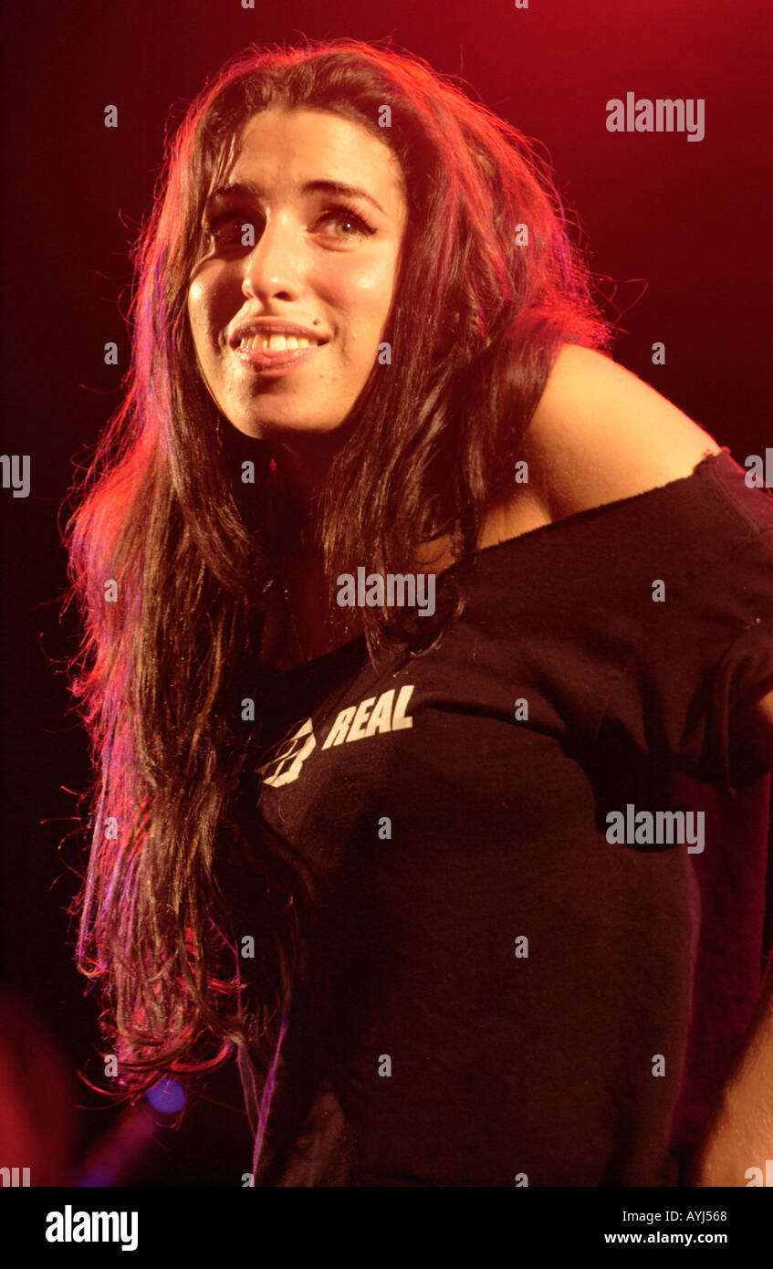 Soul jazz singer Amy Winehouse performing at the Brecon Jazz Festival Powys Wales UK GB - Stock Image