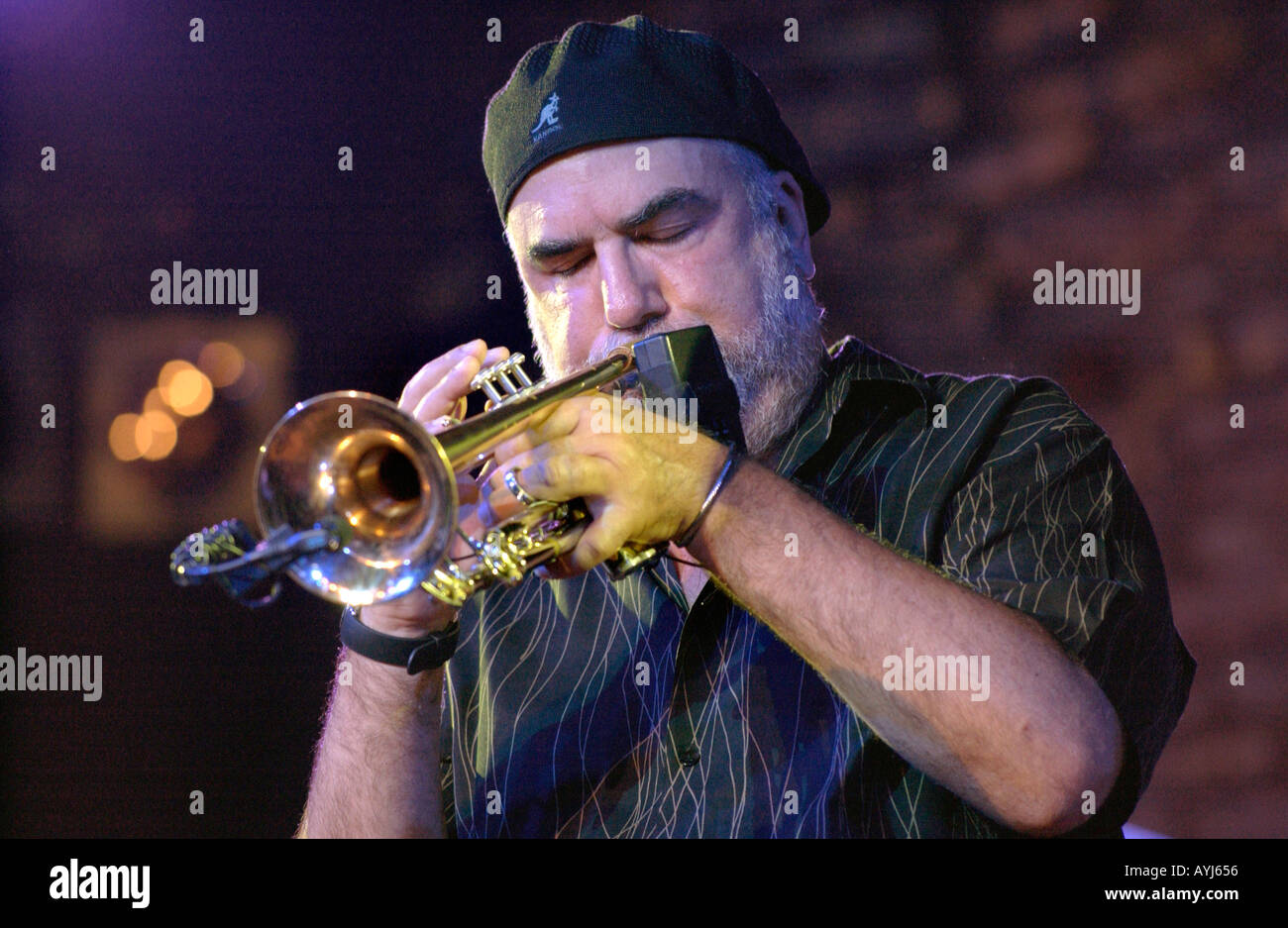 Randy Brecker playing trumpet with the Bill Evans Soulbop Band performing at the Brecon Jazz Festival Powys South Stock Photo