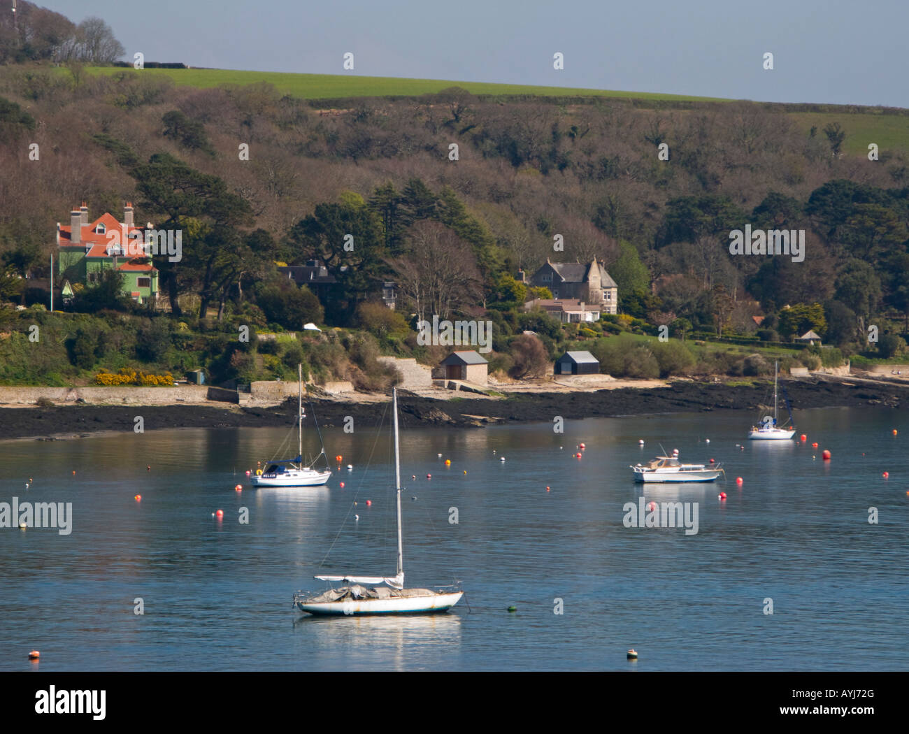 Boats moored in Carrick Road Falmouth Cornwall UK - Stock Image
