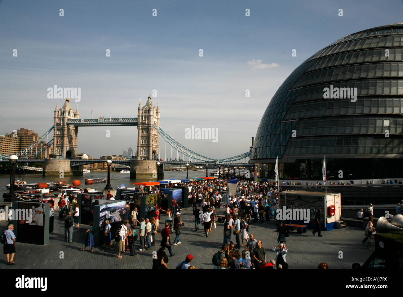 Tower Bridge and Mayor of London GLA building London, England - Stock Image