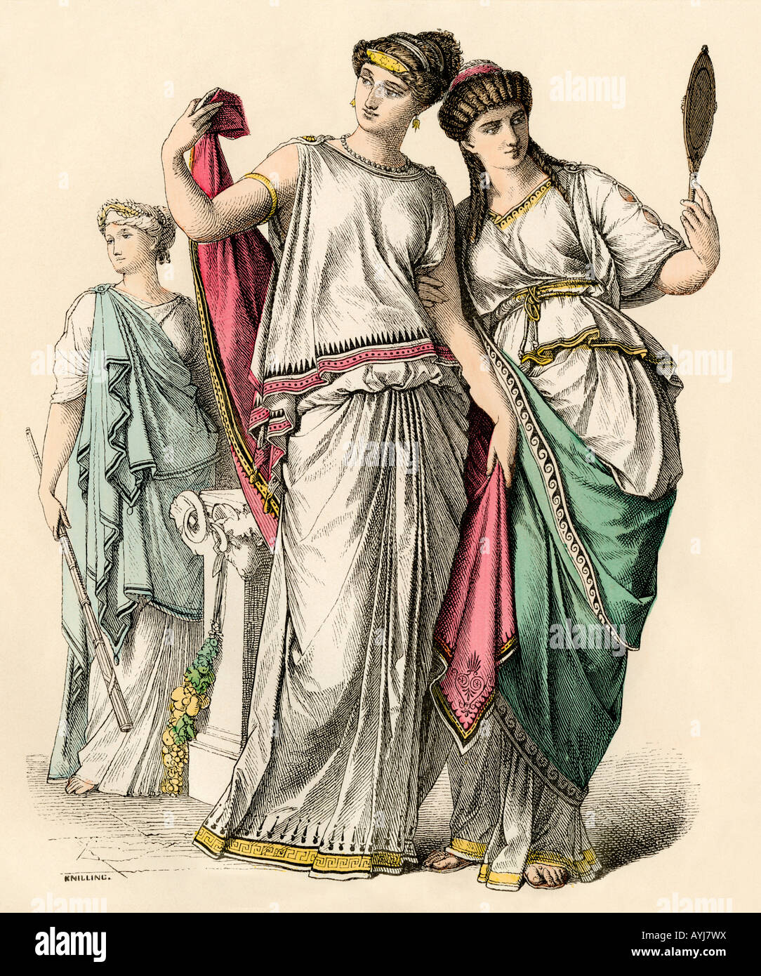 Ancient Greek women and a priestess. Hand-colored print - Stock Image
