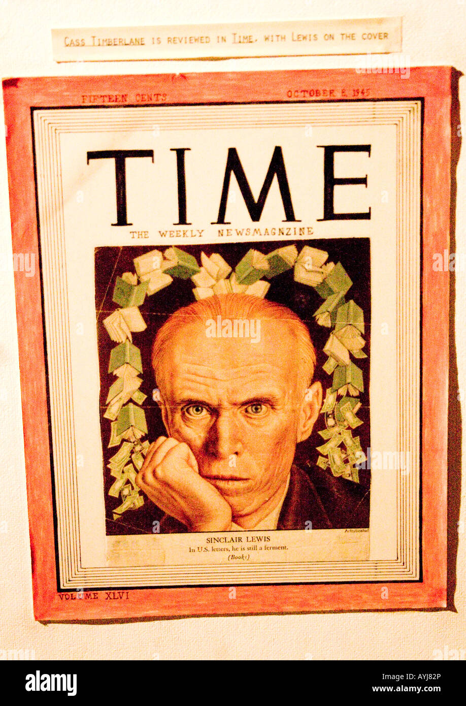 Reproduction of author Sinclair Lewis on 1945 cover of Time Magazine at the Interpretive Center. Sauk Centre Minnesota - Stock Image
