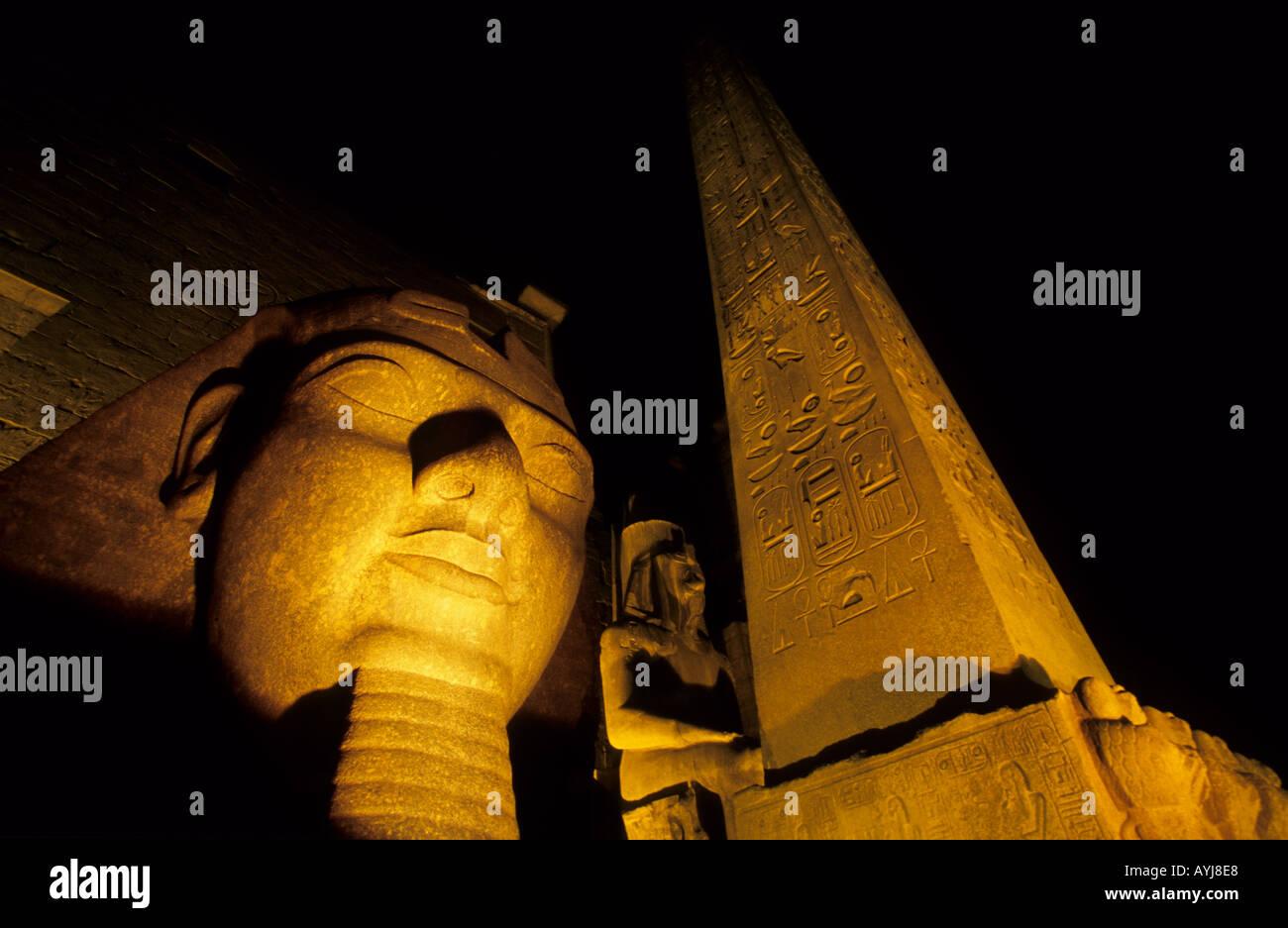 Head of Ramses II and Obelisk Luxor Temple Luxor Egypt Stock Photo