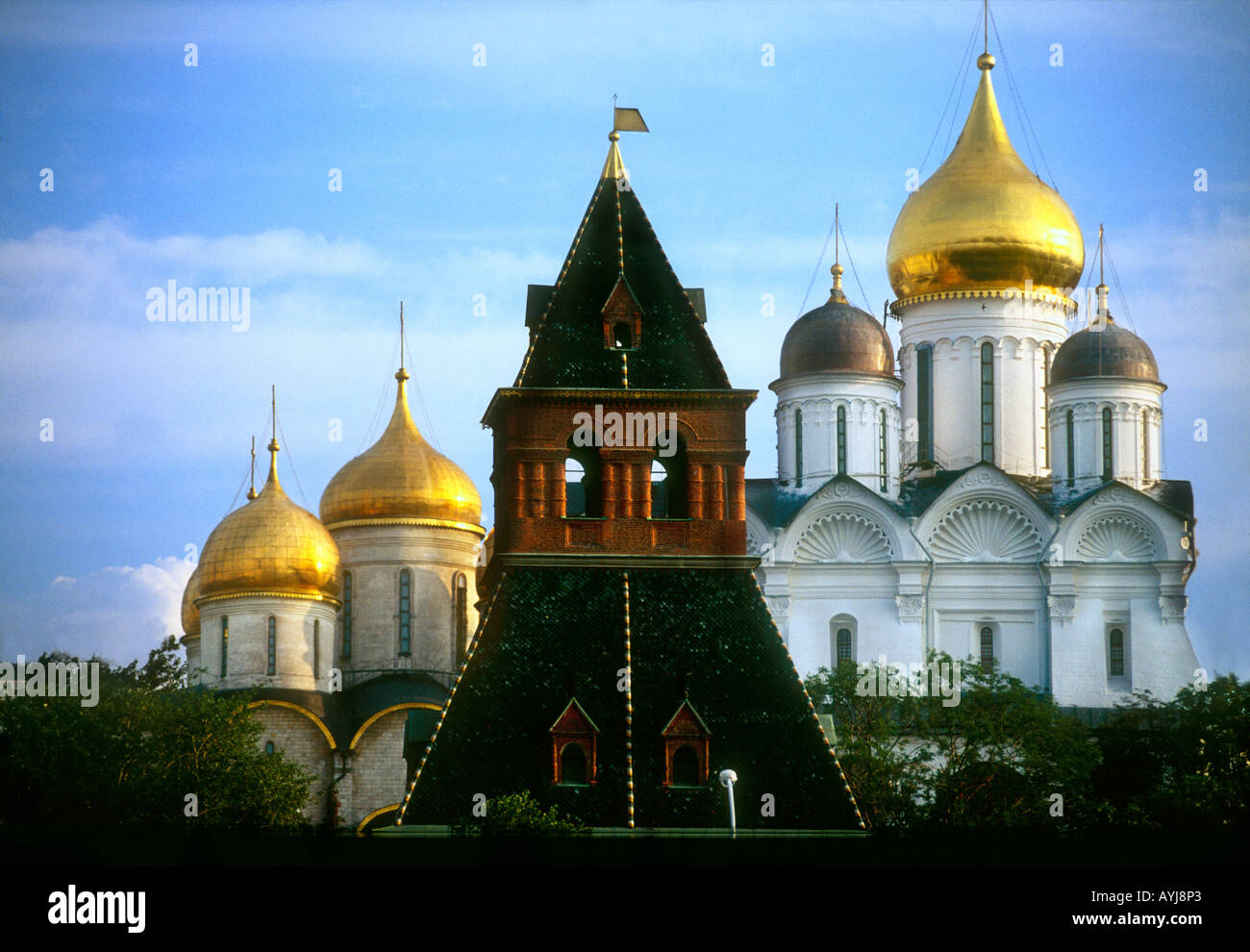 Gold coloured domed cupolas cathedral in Moscow Russia - Stock Image