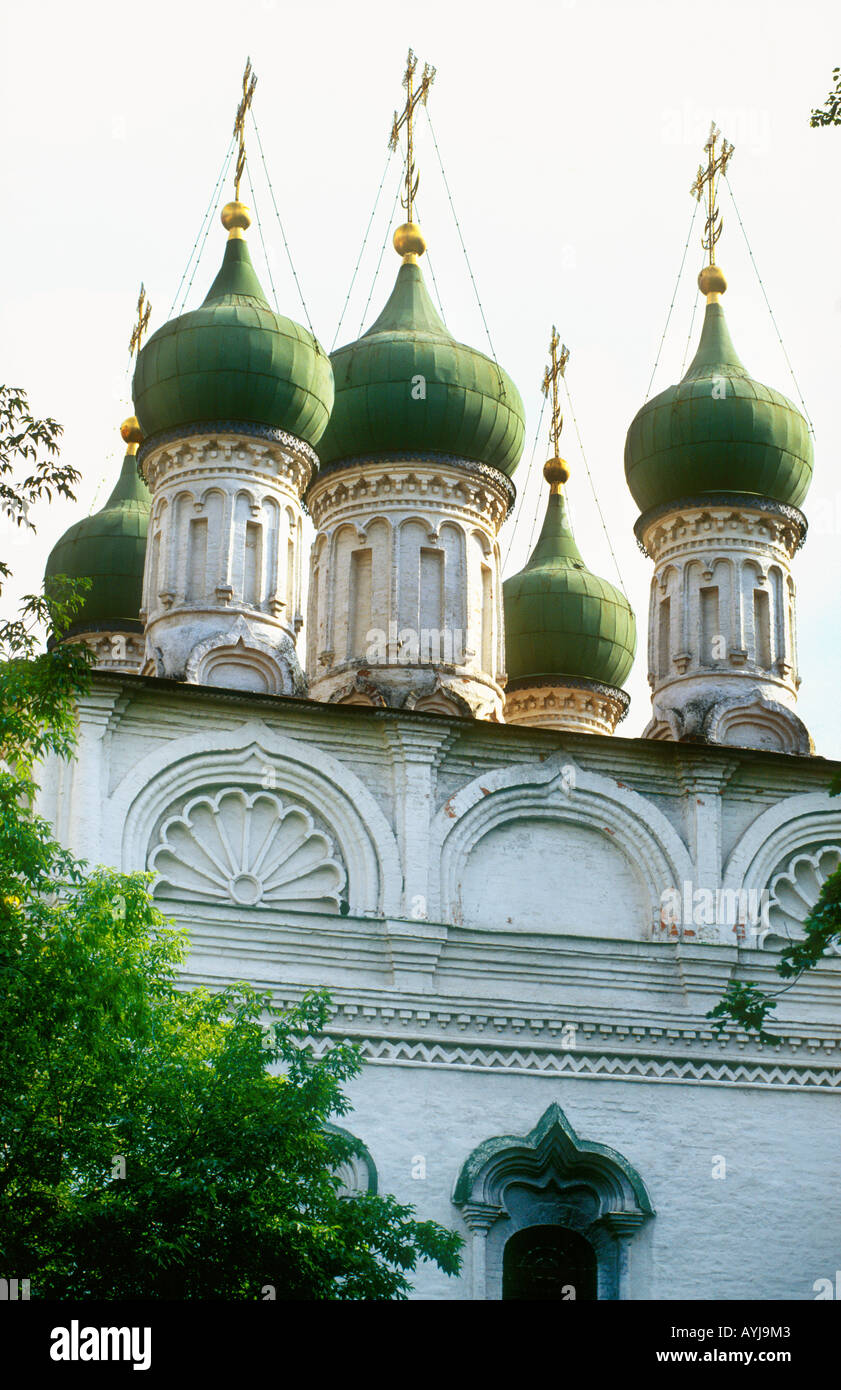 Green coloured domed cupolas cathedral in Moscow Russia - Stock Image
