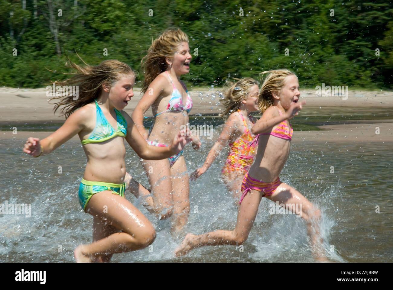 bathing suits summer coast bathing swimming lake superior rugged