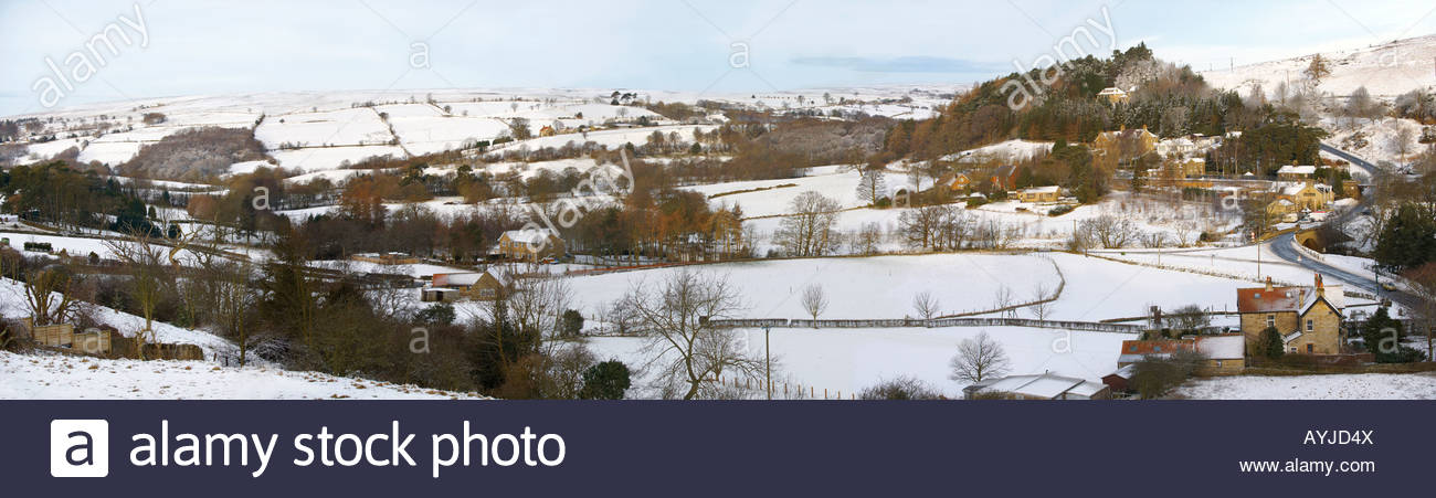 Eskdale valley with snow from Castleton  - North Yorks Moors National Park - England - Stock Image