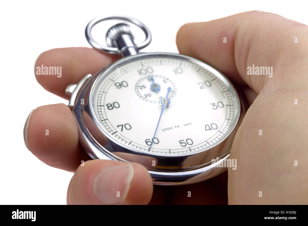 Close up of a hand holding a stopwatch thats stopped at 60/100th of a second Isolated on a white background - Stock Image