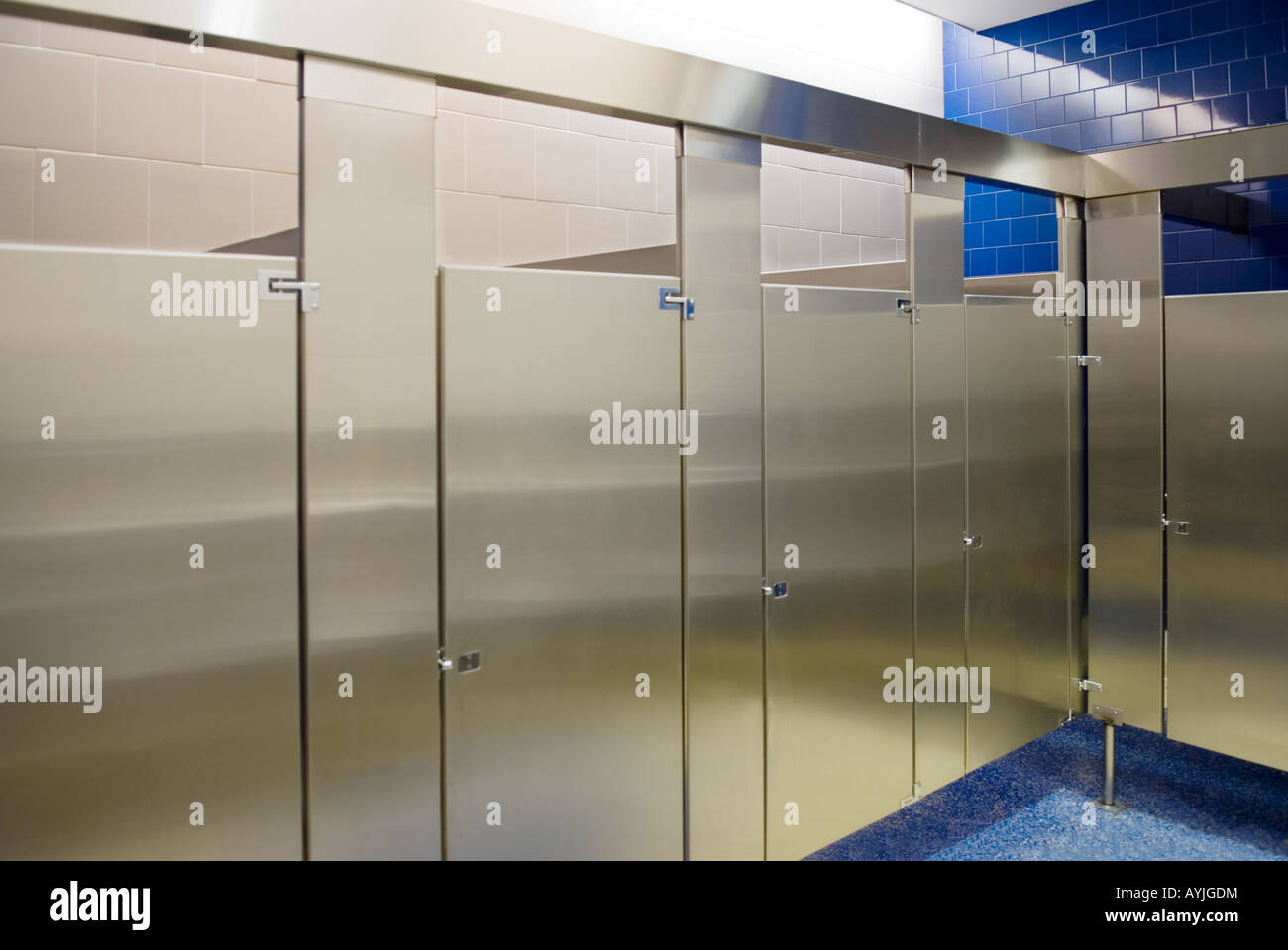 public bathroom stalls all occupied Stock Photo