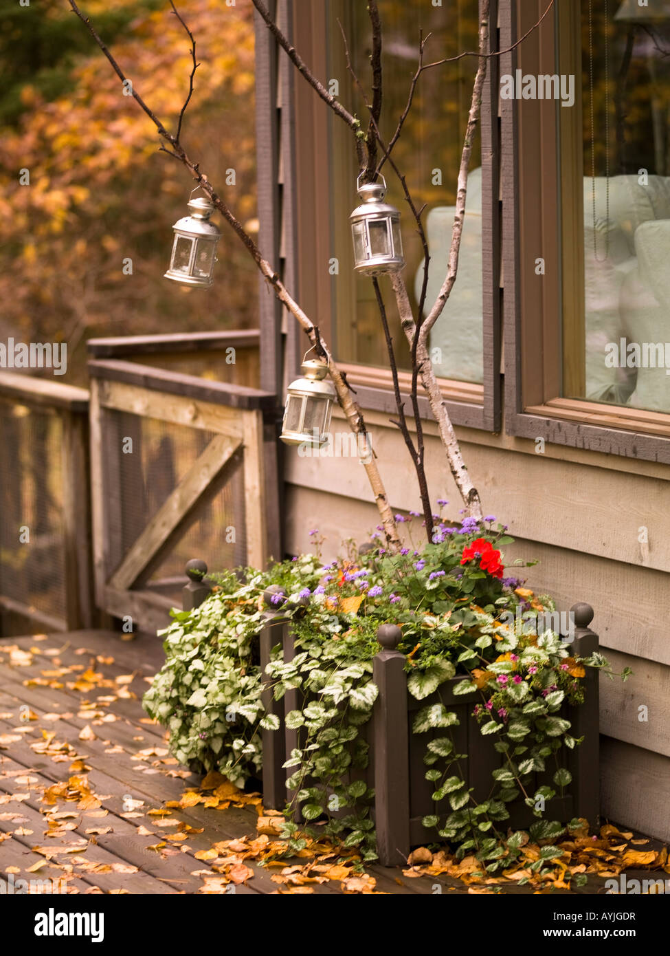 Exterior of a house in fall - Stock Image