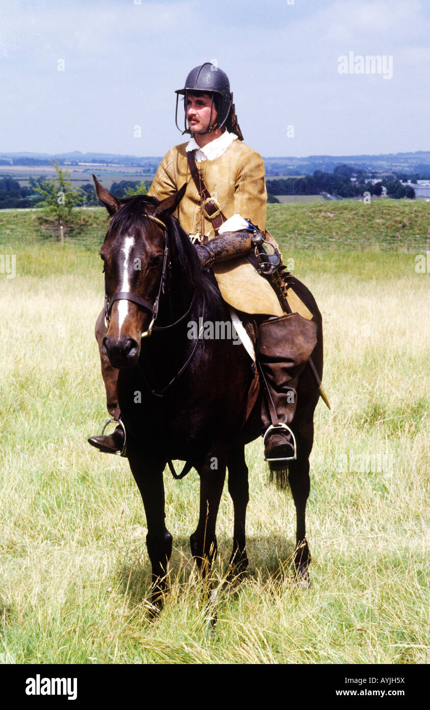 English Civil War Cavalry soldier cavalryman Cromwellian horse historical re-enactment costume history England UK - Stock Image