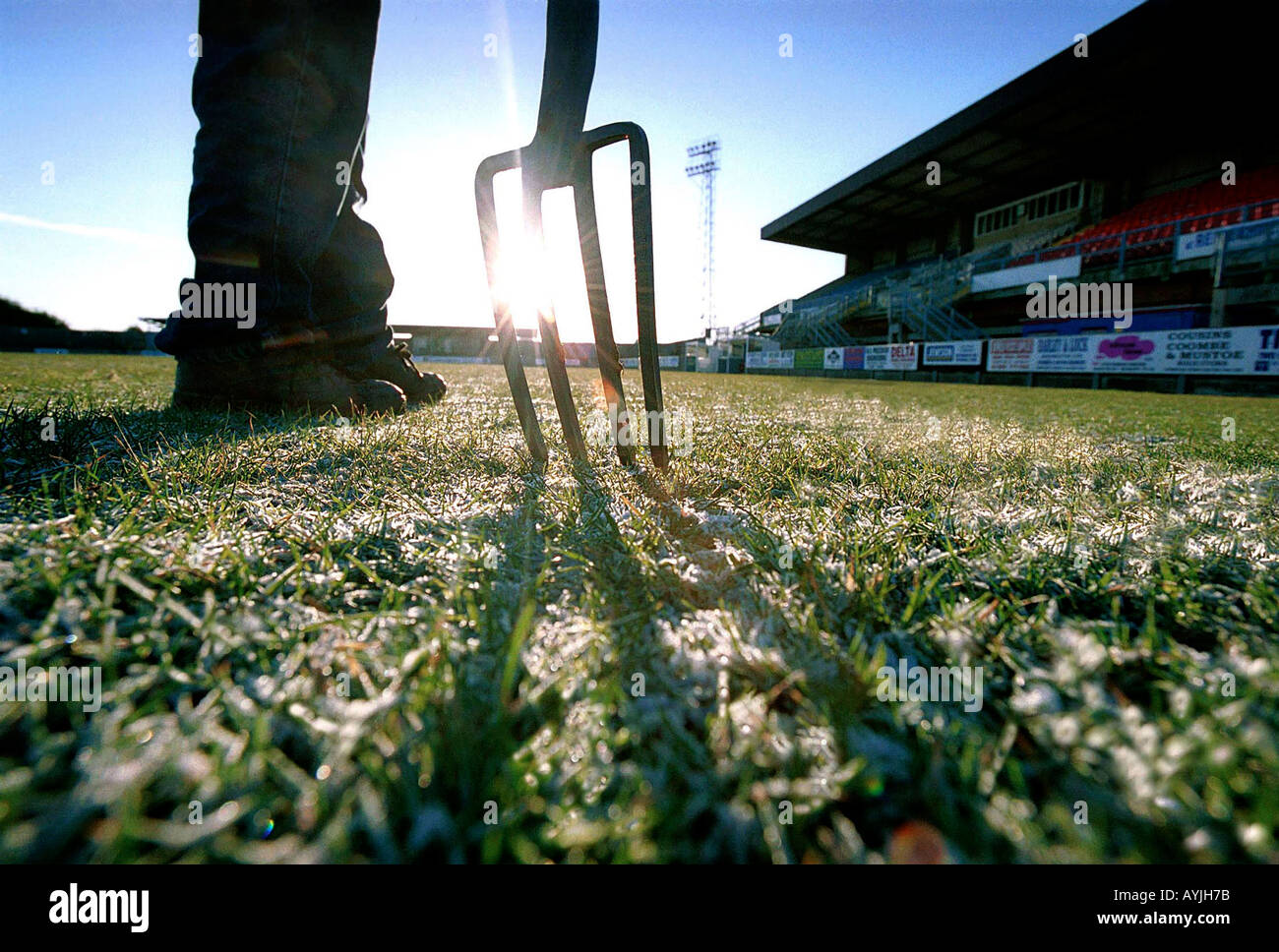 Frozen football pitch - Stock Image