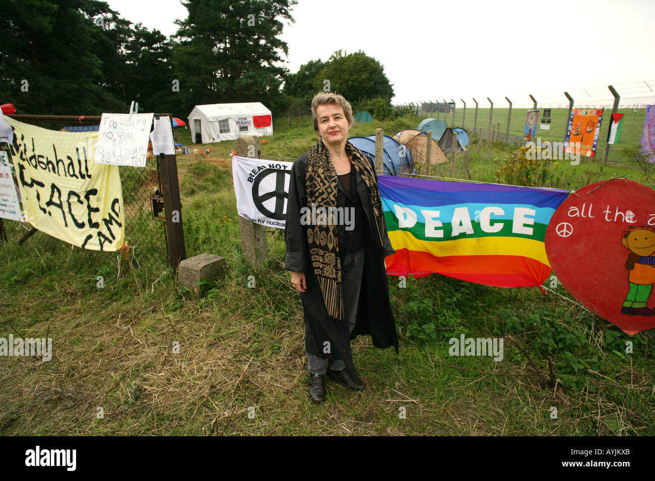 CND chair Kate Hudson at the Peace Camp outside RAF Mildenhall, Suffolk, England, UK. Stock Photo