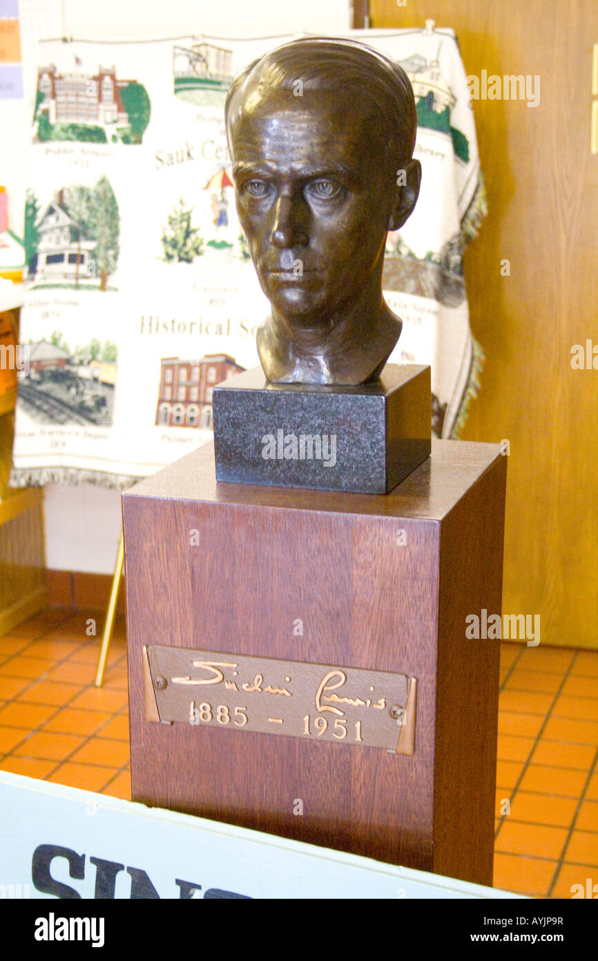 Bust of Sinclair Lewis in the Lobby of the Interpretive Center. Sauk Centre Minnesota USA - Stock Image