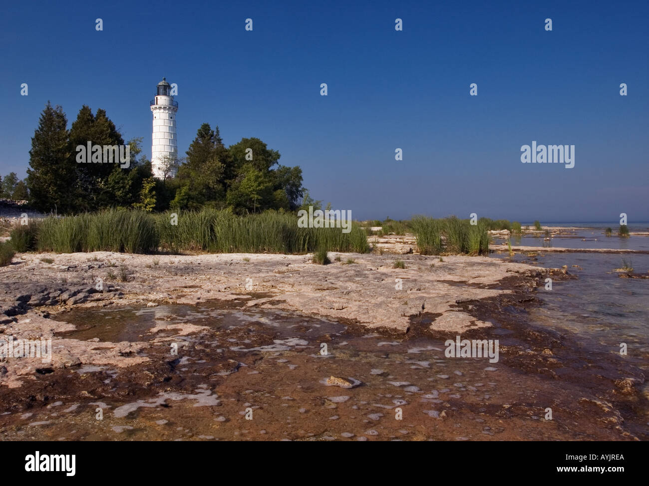 Cana Island Lighthouse Lake Michigan Door County Wisconsin & Cana Island Lighthouse Lake Michigan Door County Wisconsin Stock ...