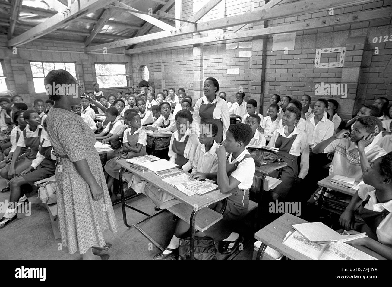 Teaching in a rural African school. Lesotho - Stock Image