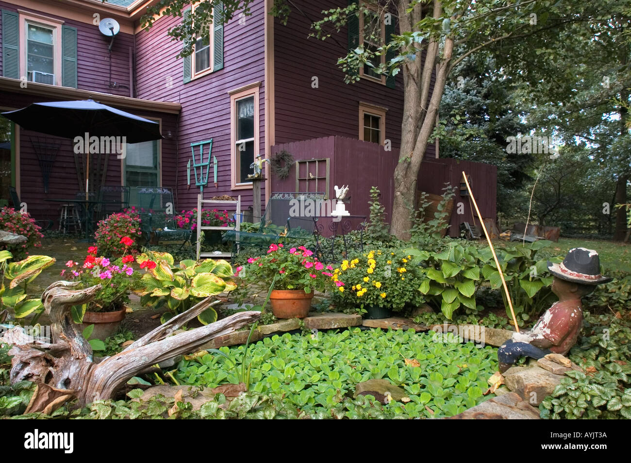 country garden patio and victorian farm house near greenville indiana stock photo 5591097 alamy