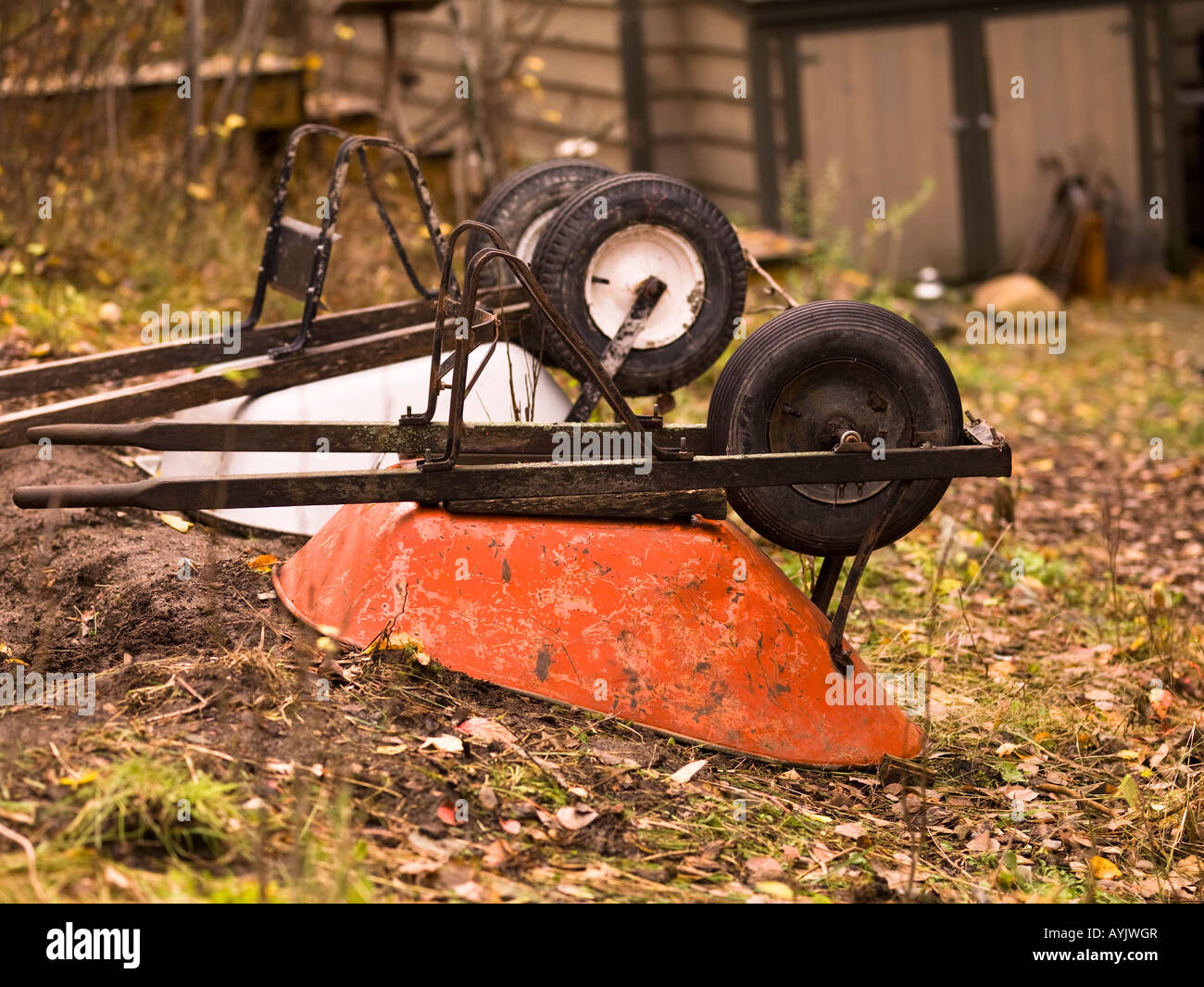 Two wheelbarrows - Stock Image