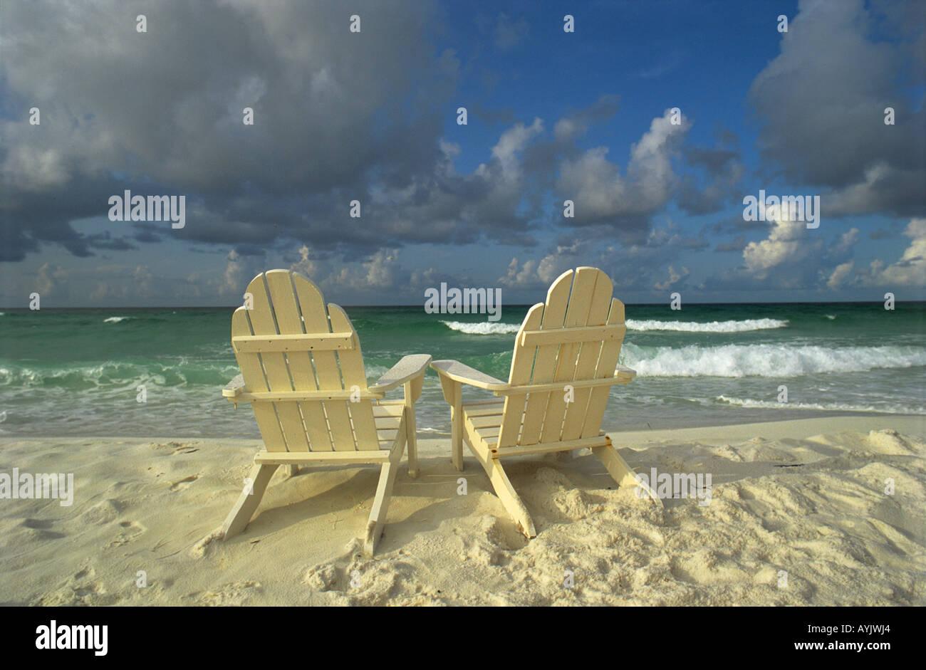Beach Chairs Florida USA Waiting For Friends