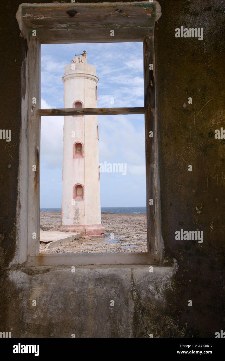 Deserted lighthouse Bonaire Netherland Antillies - Stock Image