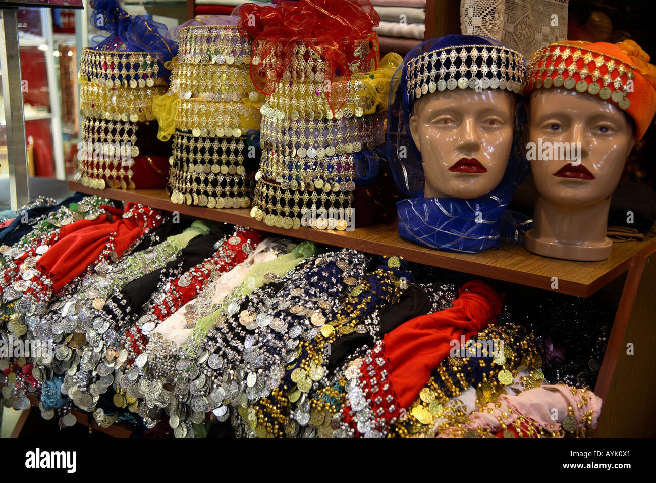 Traditional female hats for sale in The Grand Bazaar