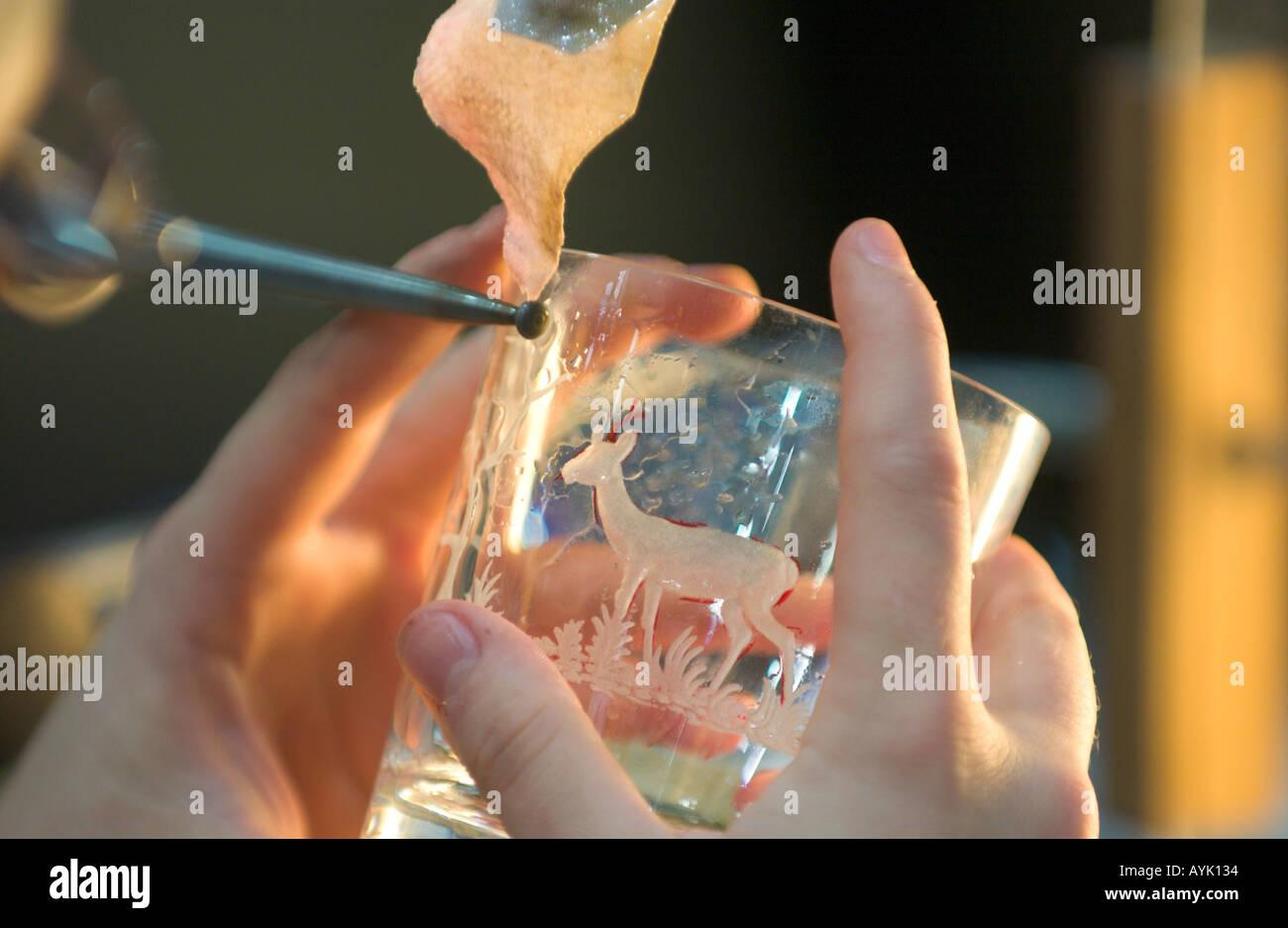 glass gravure - Stock Image