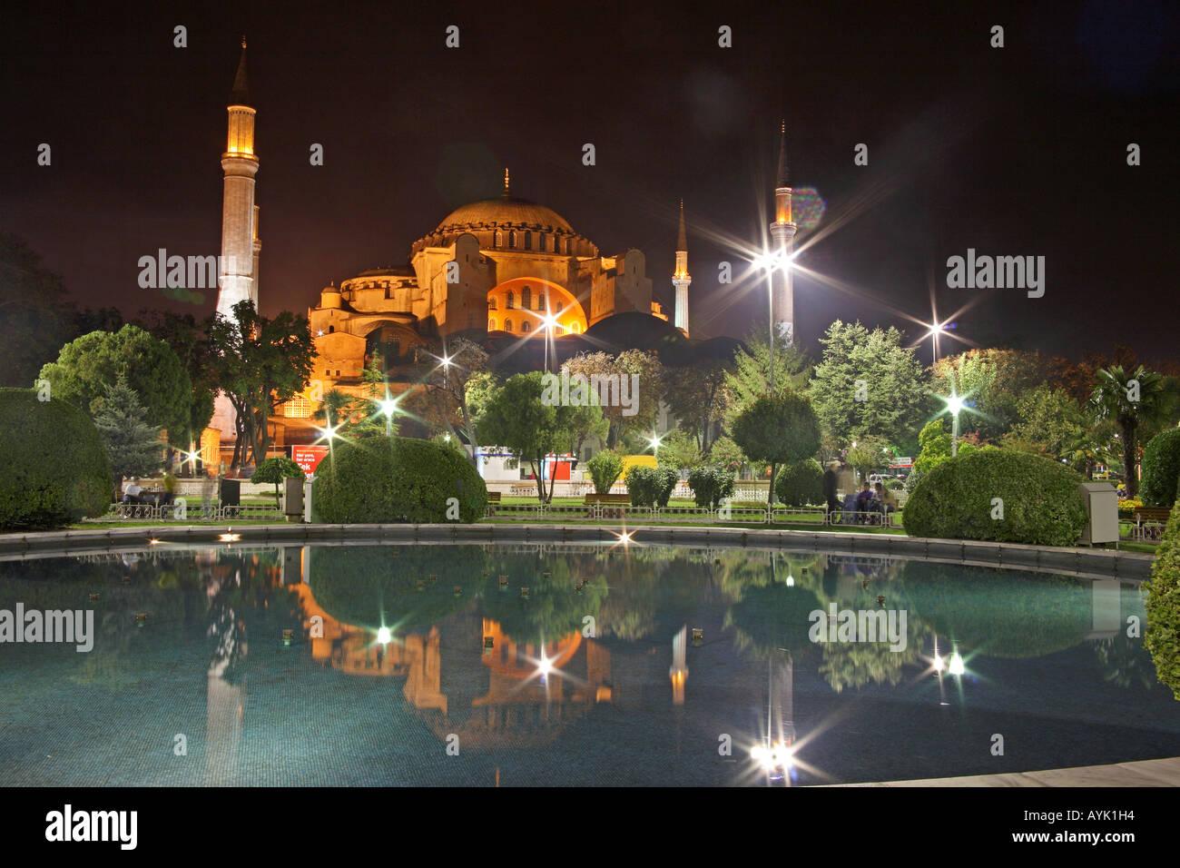 Hagia Sofia at night. Sultanahmet, Istanbul, Turkey Stock Photo