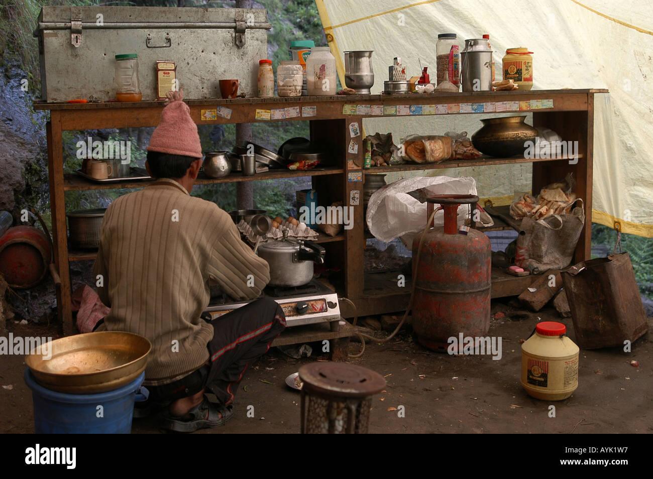 India Kullu District Himachal Pradesh food stall at Nagar Northern India - Stock Image
