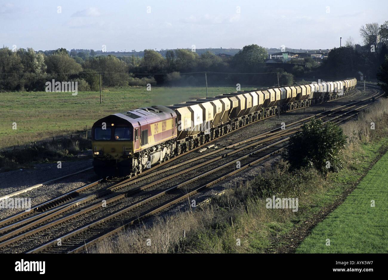 Freight train on Midland Main Line, Northamptonshire, England, UK - Stock Image