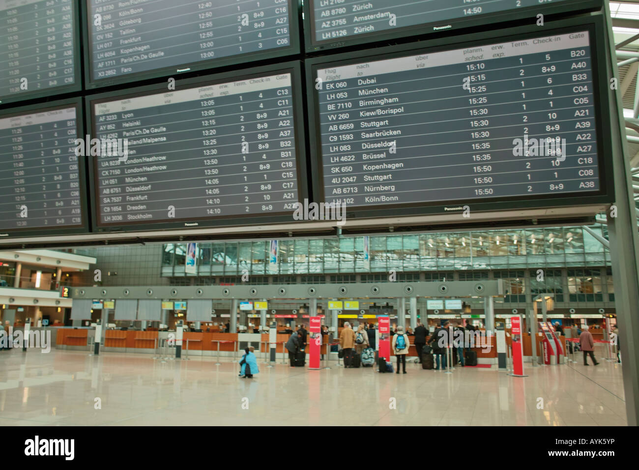 Time table at Hamburg International Airport Hamburg Germany Europe Stock Photo