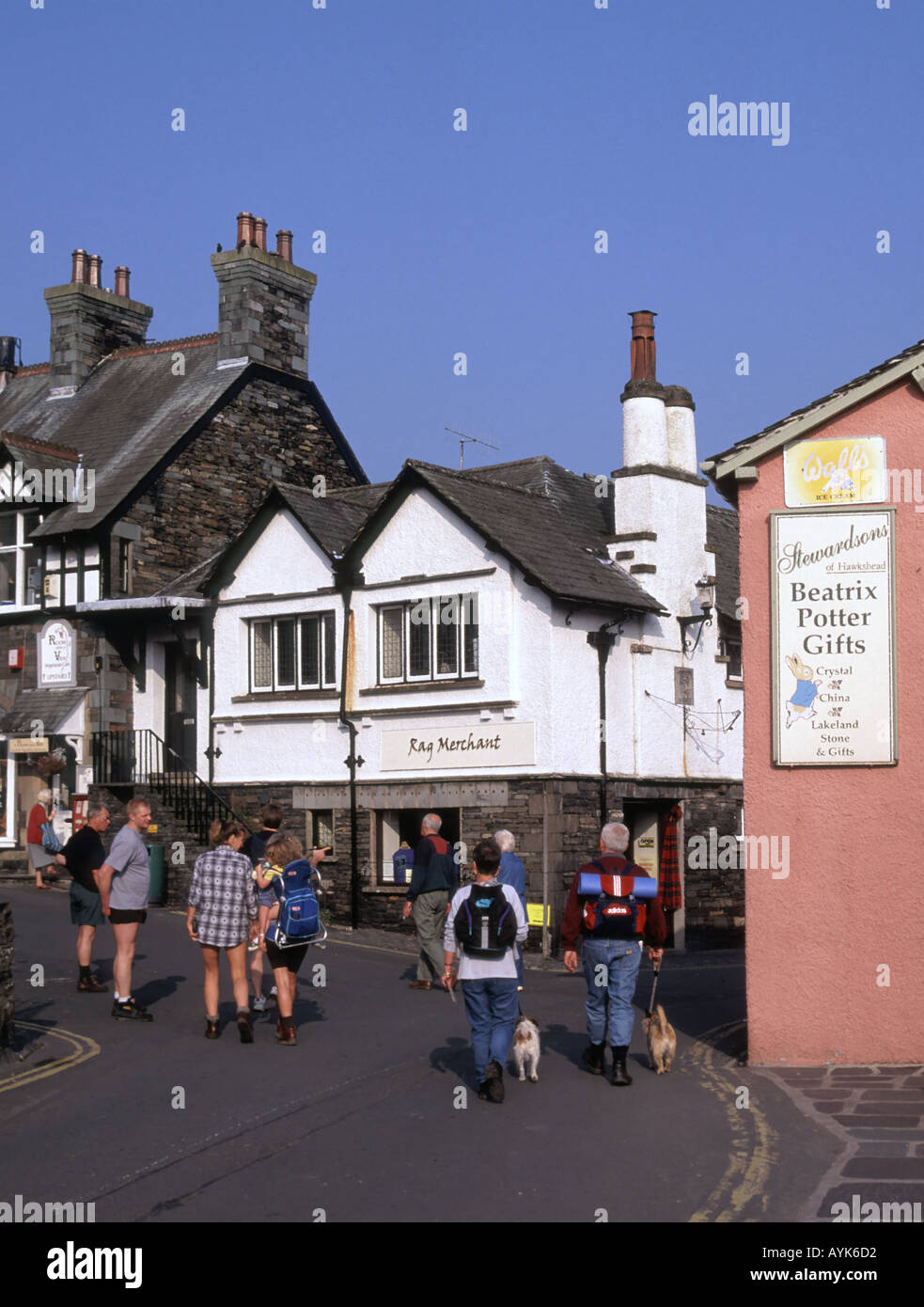 Hawkshead village popular Lake District tourist walking area has associations with Beatrix Potter and William Wordsworth - Stock Image