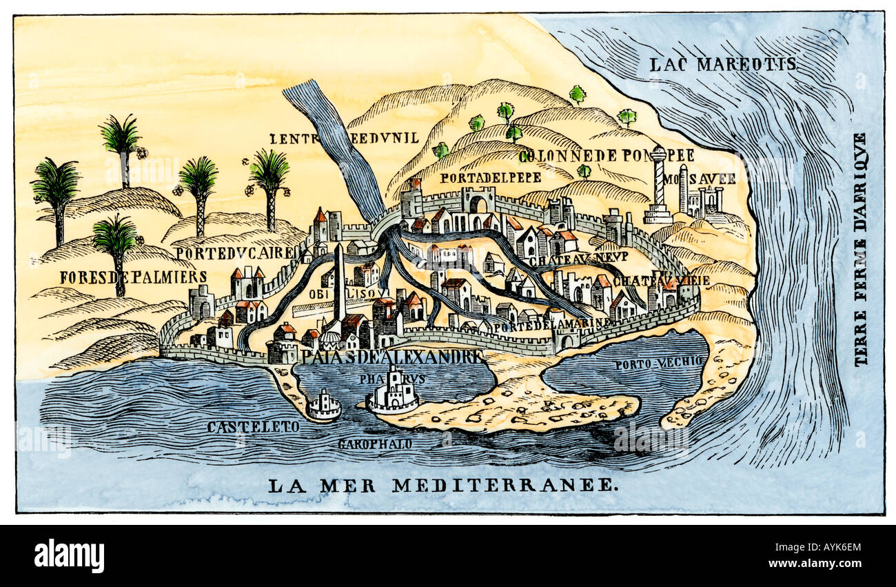 Map of Alexandria showing the lighthouse Pharos at the harbor Stock