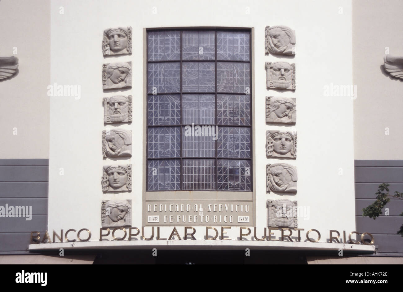 San Juan Puerto Rico Banco Popular De Puerto Rico main elevation showing sign and carved figure heads - Stock Image