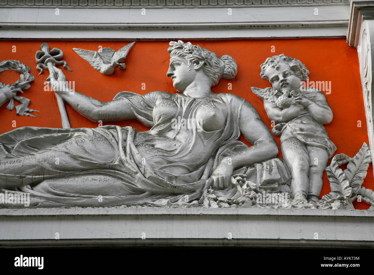 Classical frieze decorating the Royal Arcade on Old Bond Street, Mayfair, London Stock Photo