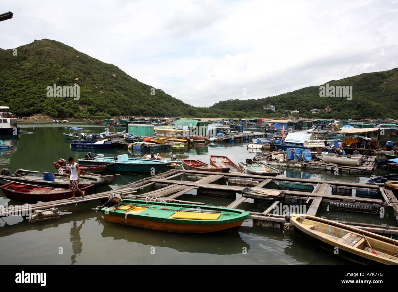 Boats in Sok Kwu Wan Harbour Lamma Island Hong Kong - Stock Image