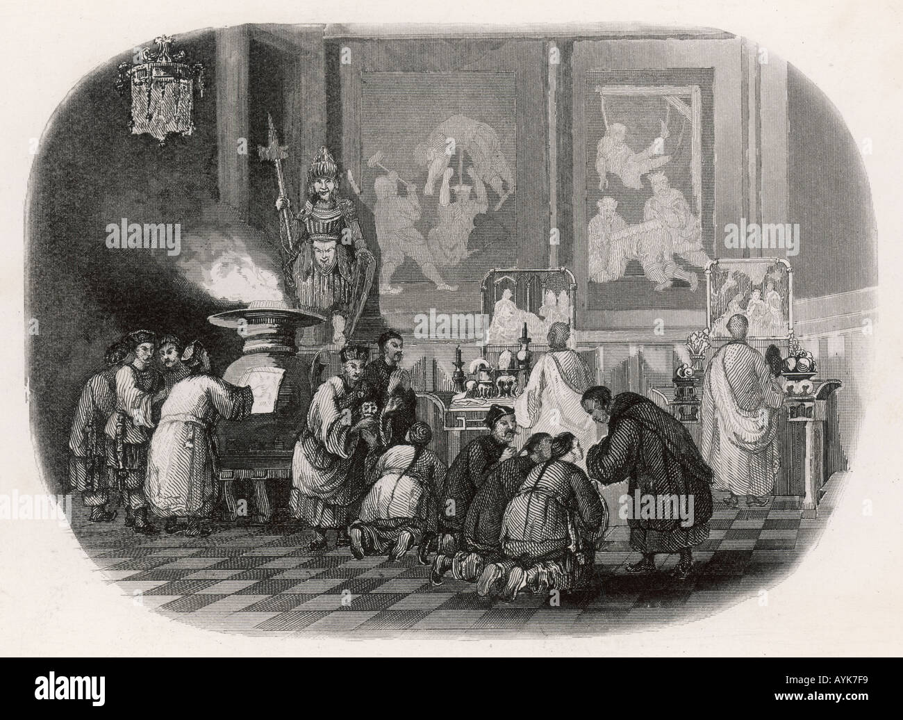 China Ancestor Cult 1846 - Stock Image