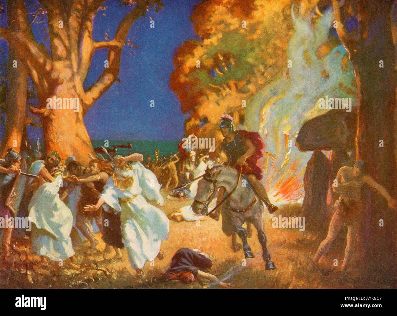 Romans Massacre Druids - Stock Image
