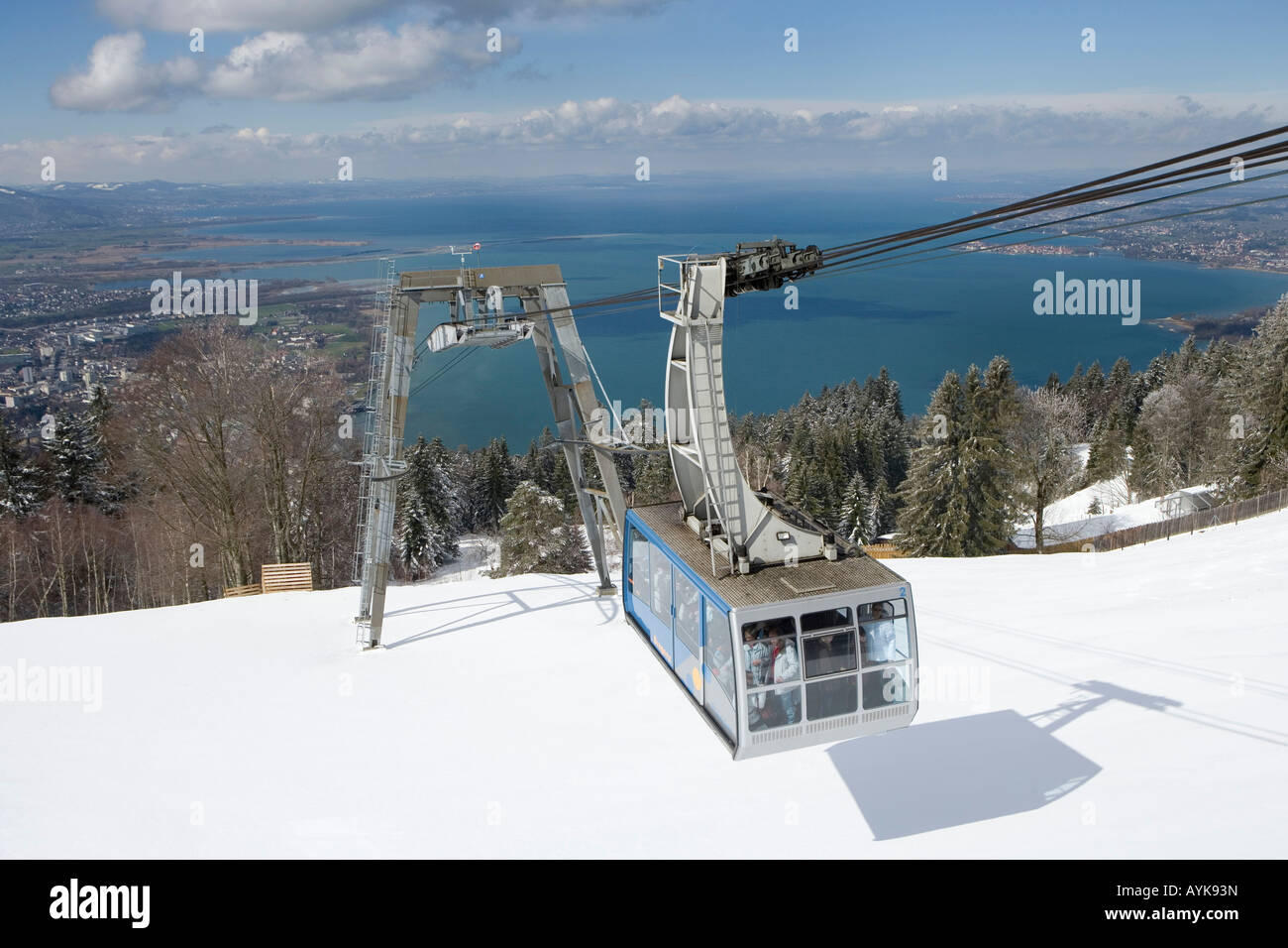 Austria, Vorarlberg, Bregenz, view from the mountain Pfaender 1064 m onto the lake Constance and the Pfaender cable - Stock Image