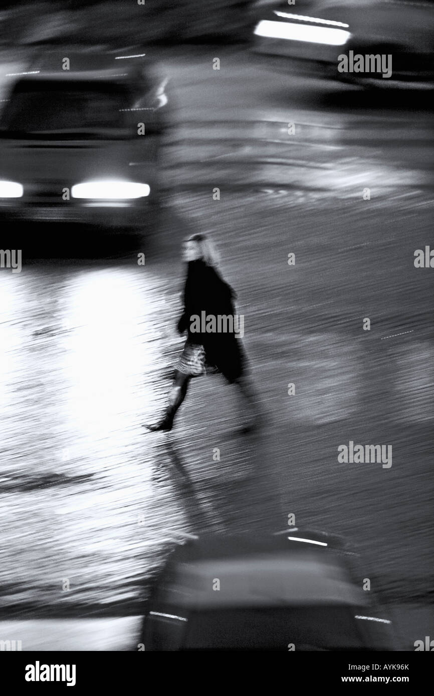 PEDESTRIANS AND TRAFFIC - Stock Image