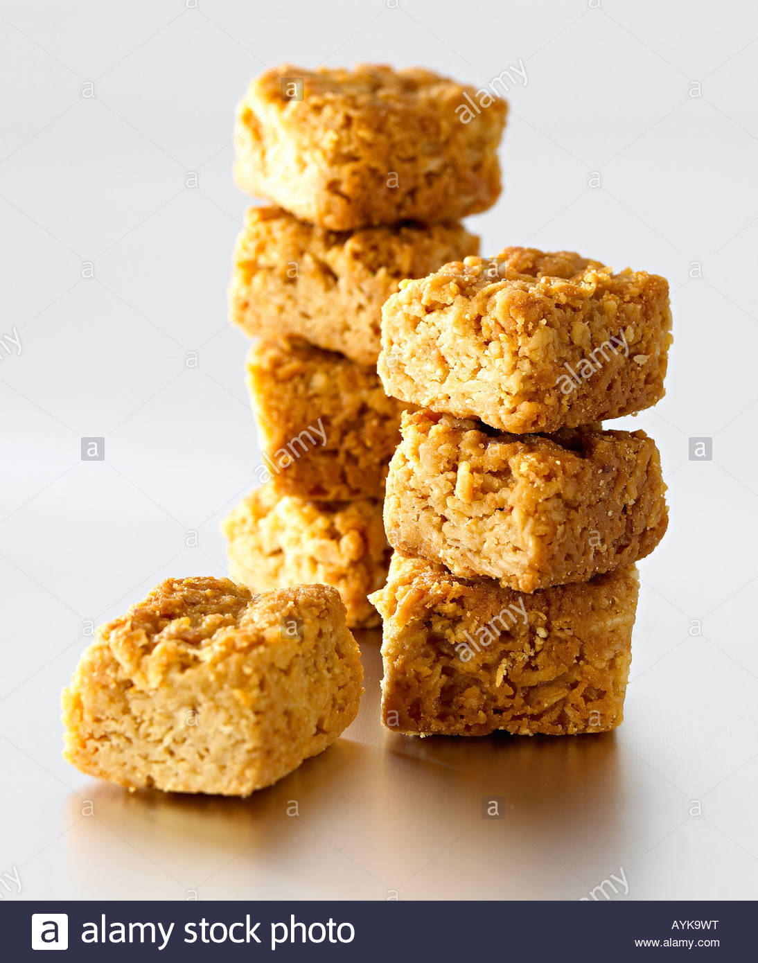 mini flap jack squares - Stock Image