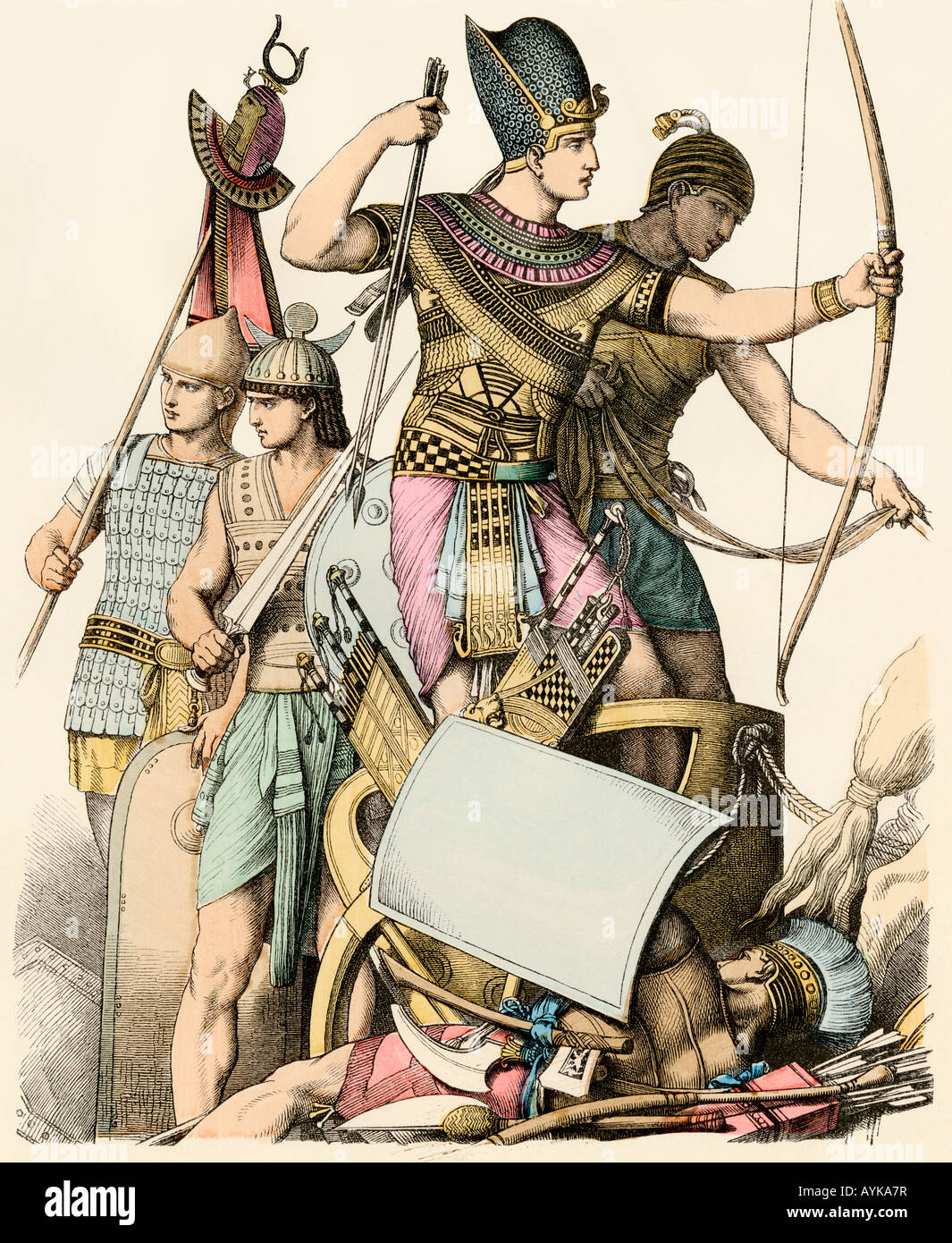 Pharaoh leading Egyptian soldiers in battle. Hand-colored print - Stock Image