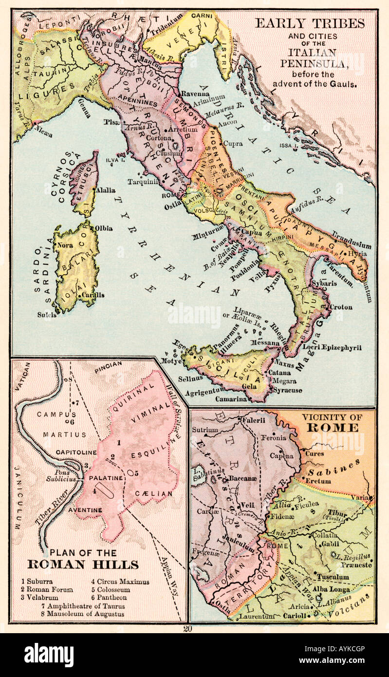 Rome On Map Of Italy.Map Of Early Tribes In Italy And Of The Roman Hills And The Vicinity