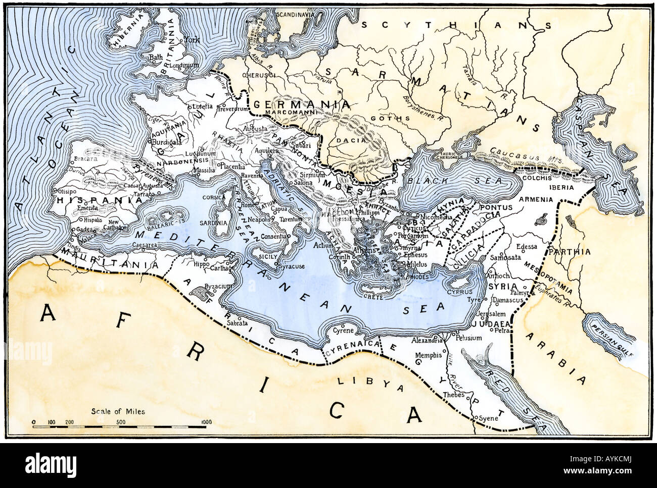 Map showing the extent of the Roman Empire. Hand-colored woodcut - Stock Image
