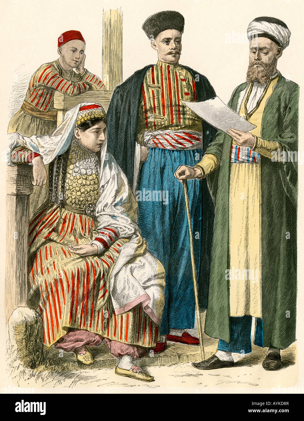Russian Tartars from the Crimea in their native attire. Hand-colored print - Stock Image