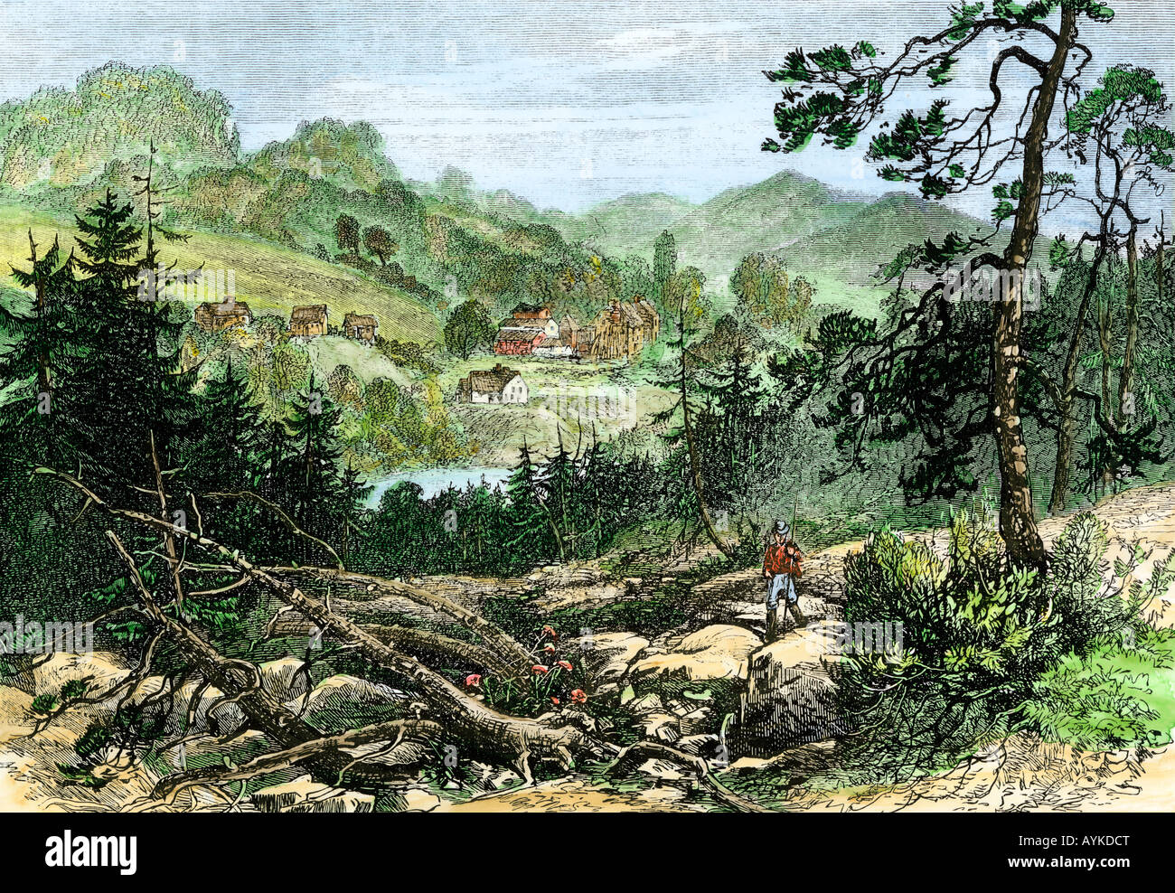 Canadian pioneer settlement on the frontier 1800s. Hand-colored woodcut - Stock Image