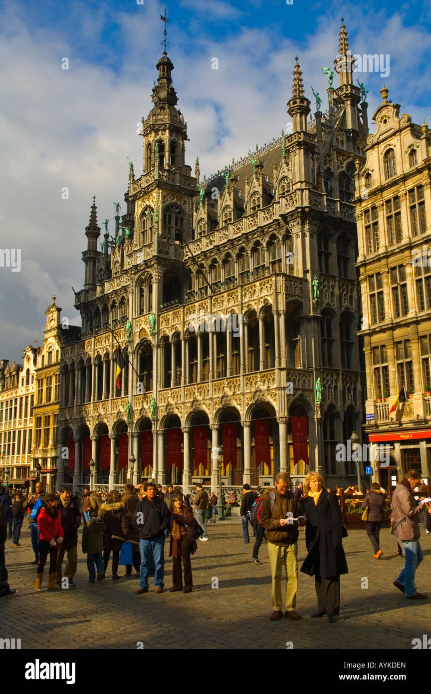 Tourists at Grand Place or Grote Markt square with Maison du Roi the Breadhouse building Brussels Belgium Europe Stock Photo