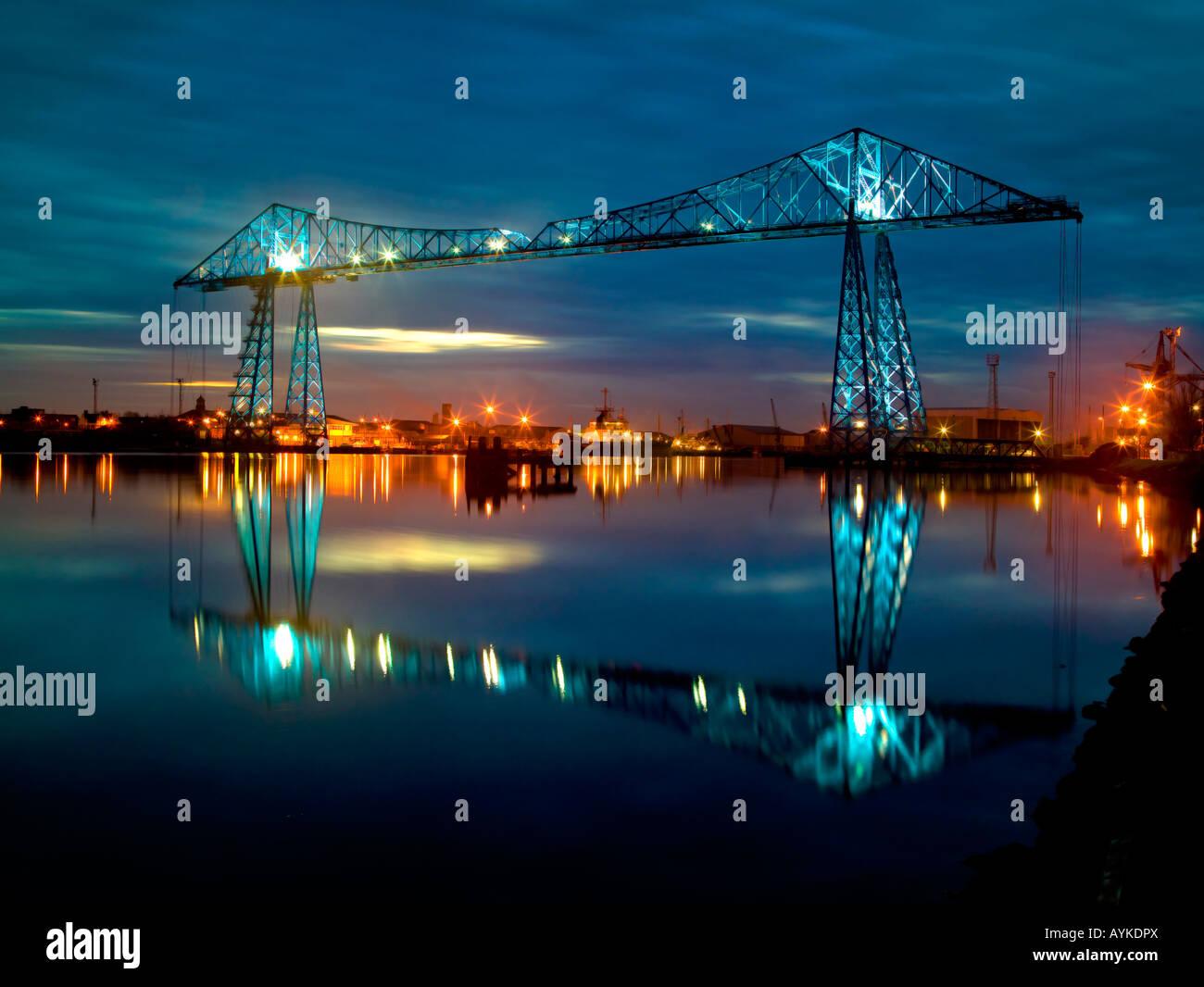 Transporter Bridge at dusk Middlesbrough North East England Stock Photo
