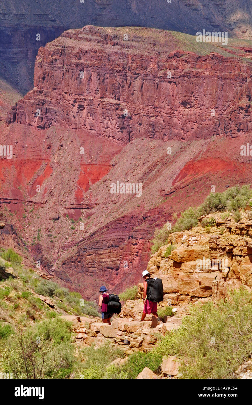 The Grand Canyon views from the Bright Angel Trail - Stock Image