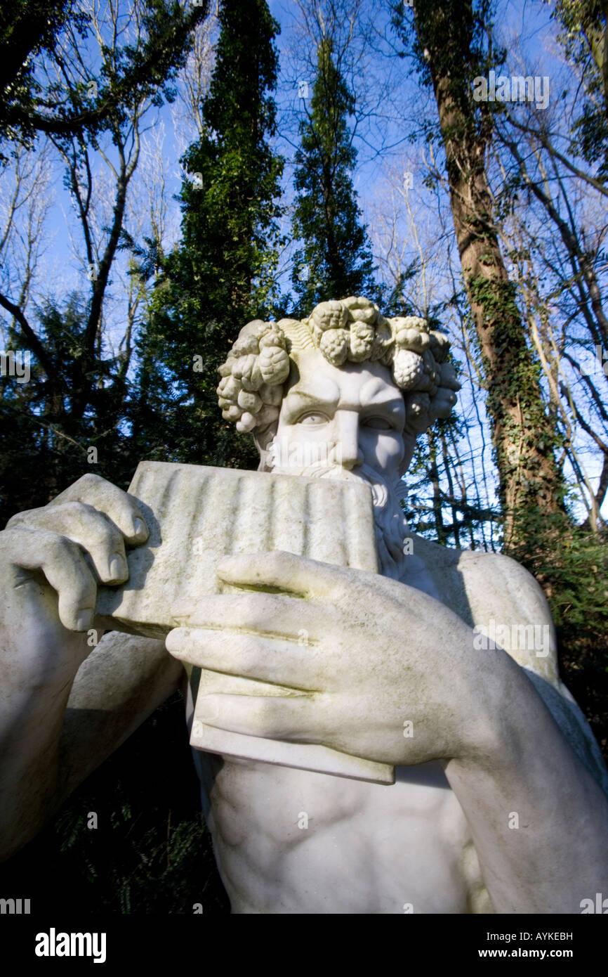 Der Griechische Gott Pan im Park Mondo Verde Greek God Pan at the pleasure grounds of Mondo Verde Netherlands - Stock Image